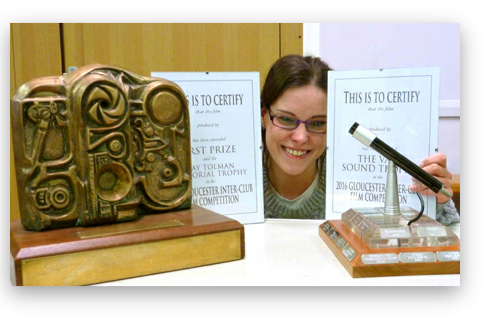 Scriptwriter Helen Sharpe with the trophies for the BFVS entry Requiiem for Caffeine